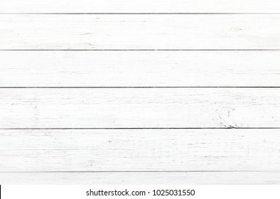 Wood texture background, white wooden planks. Grunge washed wood table pattern top view