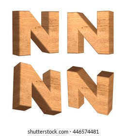 Wood texture capital letter N in 3d rendered on isolated white background.