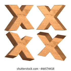 Wood texture capital letter X in 3d rendered on isolated white background.