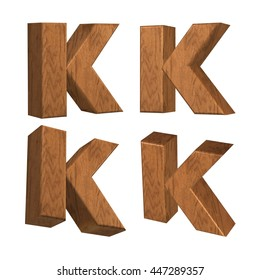Wood texture caps letter K in 3D rendered on isolated white background.