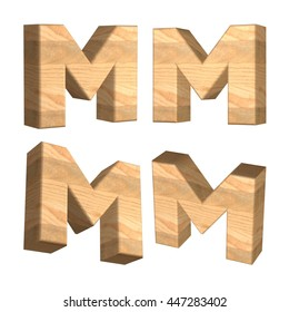 Wood texture caps letter M in 3D rendered on isolated white background.