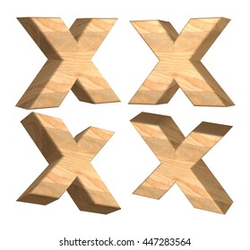 Wood texture caps letter X in 3D rendered on isolated white background.