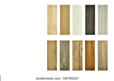 wood texture floor on isolate Background. Sample pack of wooden flooring laminate isolated on white. real wood panel and laminated samples on a white background