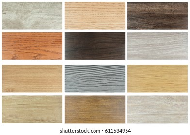 wood texture floor Samples of laminate and vinyl floor tile on wooden Background for new constuction or renovate building