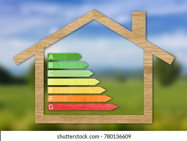 Wood textured energy efficiency certification symbols inside a house shape against a blurred nature background