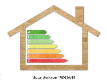 Wood textured energy efficiency certification symbols inside a house shape against a white background