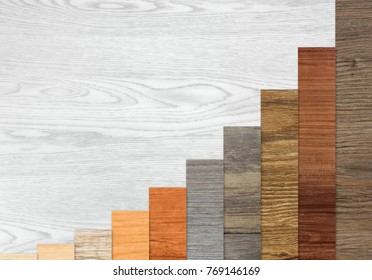 Wood textured graph bars following an exponential growth over a white wood background