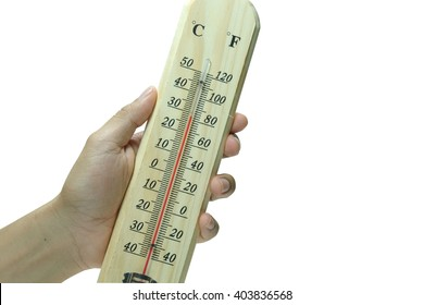 Wood thermometer on write background