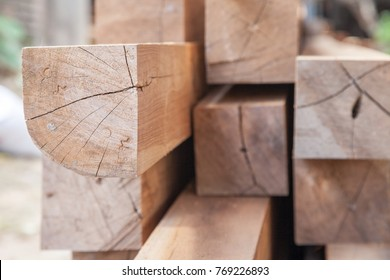Wood timber construction material Stock in warehouse.