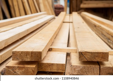 Wood timber in the sawmill.