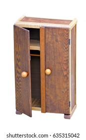 Wood toy cabinet with an open door on a white background