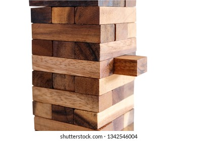 Wood toy on white background with clipping path.