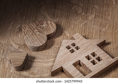 wood toys house and heart