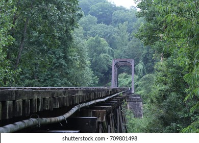 Wood Train Bridge in the Deep Forest