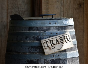 Wood Trash Sign on 55-gallon Barrel