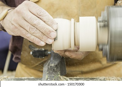 Wood turner crafting, carpentry and joiner