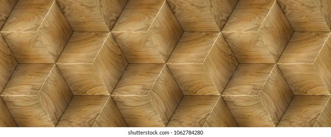 Wood veneer boxes design hexagon 3d panels . Material wood oak. High quality seamless realistic texture.