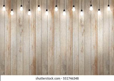 wood wall with bulb lights lamp. nice brick show room with spotlights.