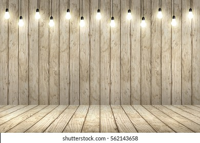 wood wall with bulb lights lamp. nice brick show room with spotlights.