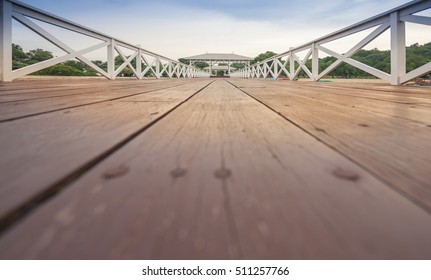 Wood waterfront pavilion and long wooden bridge, at Koh si chang island, Sriracha Chonburi.Thailand