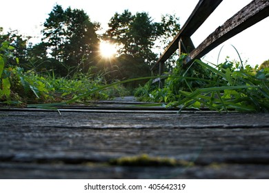 Wood way trail bridge in natur with sun behind the trees