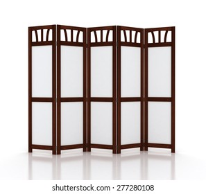 wood and white fold screen isolated on white background