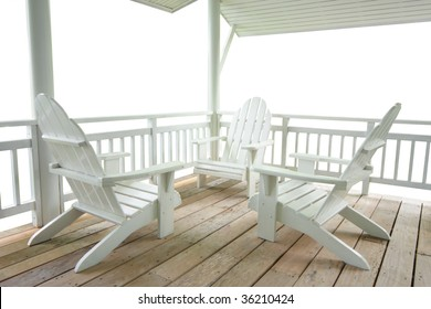 Wood white terrace and chairs isolated white.