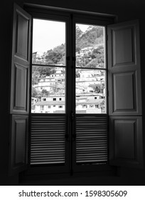 wood window  black and white glass