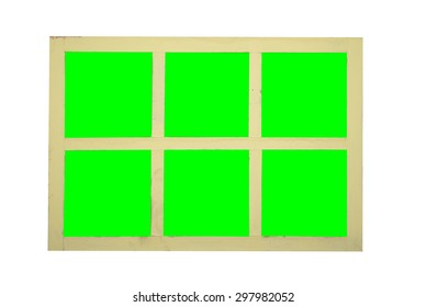 Wood window frame isolated on green screen