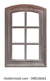 Wood window isolated on a white background