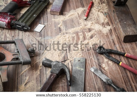 Wood Workshop Handcraft Tools Raw Wood Stock Photo Edit Now