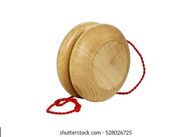 Wood yo-yo yoyo with coiled red string. Isolated on white. Front and side view. Horizontal.