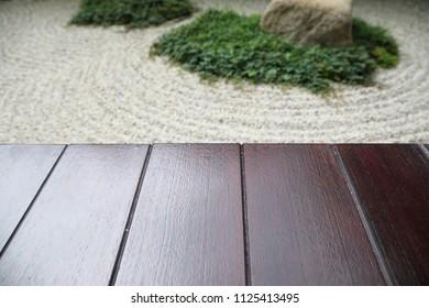 wood and zen stone garden