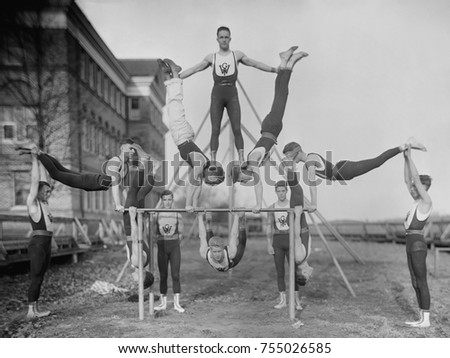Woodberry Forest School Gymnastics team, ca. 1920s. The all male private school still exists, located in Madison County, Virginia.