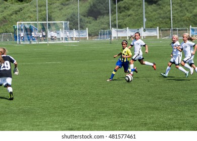 Woodbridge, CT, USA - September 10, 2016: Daytime scene of young girls in an all girls team in Woodbridge, Connecticut on September 10, 2016, while playing an organized youth soccer game