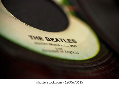 WOODBRIDGE, NEW JERSEY - October 11, 2018: A closeup of a 45 speed Beatles record on the Apple Records label
