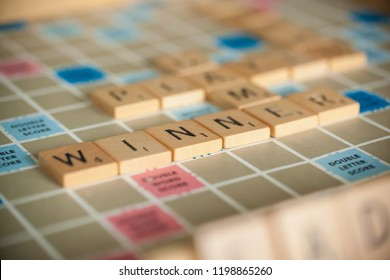 Woodbridge, New Jersey / United States - October 9, 2018: A vintage Scrabble board game is shown with letter tiles