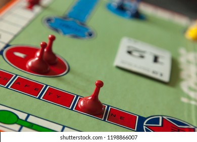 Woodbridge, New Jersey / United States - October 9, 2018: Details of a circa 1980s board game of Sorry are shown