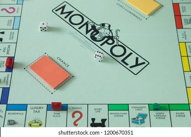 Woodbridge, New Jersey / United States - October 11, 2018: A view of a circa 1980s Monopoly board game
