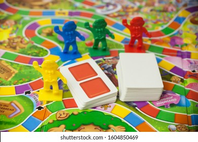 Woodbridge, New Jersey / United States - January 3, 2020: A closeup view of the classic family board game, Candy Land.