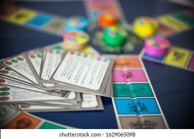 WOODBRIDGE, NEW JERSEY / USA - January 28, 2020: An 80s Edition of the popular family board game, Trivial Pursuit, is pictured