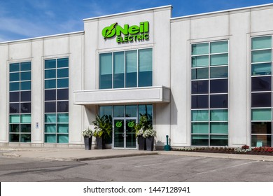 Woodbridge, Ontario, Canada - June 10, 2018: O'Neil Electric entrance at corporate office in Woodbridge, a Canadian Wholesale Supplier of Premium Electrical Products in Ontario and the GTA .