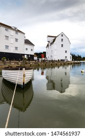 Woodbridge Tide Mill in Woodbridge, Suffolk, on the banks of the River Deben, England. A rare example of a tide mill were the water wheel still turns