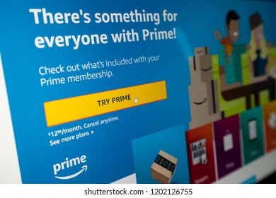 Woodbridge, VA / USA - September 13 2018: Amazon Prime sign up page. Join now button. Buy holiday gifts online for Christmas Thanksgiving New Years Halloween Birthdays