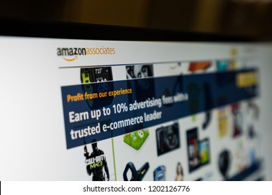 Woodbridge, VA / USA - September 13 2018: Amazon associates advertising ads digital marketing on social media. Make internet sales on app and online to promote sales growth and make money.
