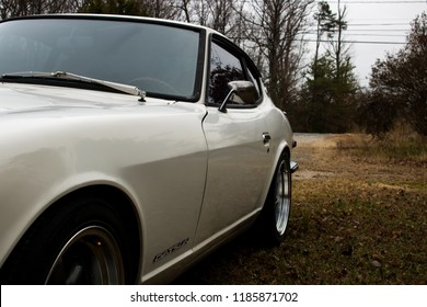 Woodbridge, Virginia, USA - December 26, 2016 - Datsun 240z Exterior Side View Outside White Classic Vintage Antique Car