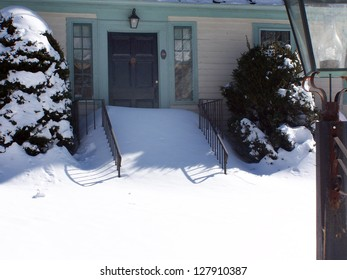 WOODBURY, CONNECTICUT USA - FEBRUARY 8: Storm Nemo dumps several feet of snow on February 8. 2013 in Connecticut. Unusually high snow drifts have made many residents immobile.