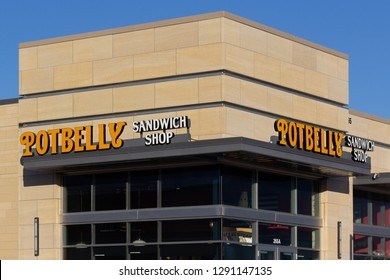 WOODBURY, MN/USA - JANUARY 19, 2019: Potbelly Sandwich Shop exterior sign and logo. Potbelly Corporation is a publicly traded restaurant chain that sells submarine sandwiches.