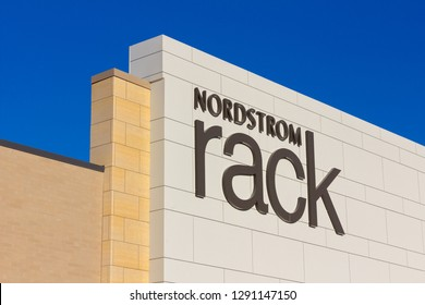 WOODBURY, MN/USA - JANUARY 19, 2019: Nordstrom Rack retail store exterior and trademark logo. Nordstrom Inc. s an American chain of luxury department stores.