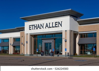 WOODBURY, MN/USA - NOVEMBER 13, 2016: Ethan Allen store exterior and logo. Thomasville Furniture Industries is a full-line furniture manufacturer.